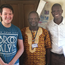 Glynn (left) with John Sembekah (centre), manager of the Vocational Training Centre, and Sierra Leonean ICS volunteer Victor
