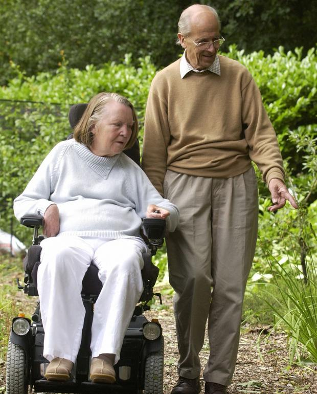 Lord Norman Tebbit and wife Lady Margaret Tebbit who was left paralysed after the IRA attack on the Grand Hotel, Brighton in1984