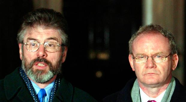Gerry Adams and Martin McGuinness outside 10 Downing Street after meeting Tony Blair in 2003