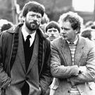 Gerry Adams and Martin McGuinness at a republican funeral in 1987