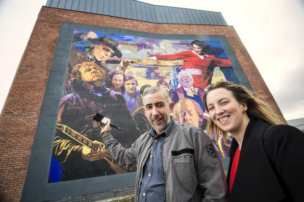 Luminaries and Legends, a new artwork featuring well-known faces and places connected to east Belfast, was unveiled yesterday by artist Dee Craig and Heather Chesney of the EastSide Partnership.