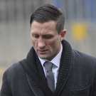Simon Danielli arrives at Newtownards court yesterday