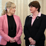 Arlene Foster with Michelle O'Neill in Stormont yesterday