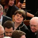 DUP leader Arlene Foster attends the funeral of Martin McGuinness at St Columba's Church yesterday