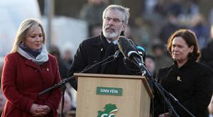 Michelle O'Neill, Gerry Adams and Mary Lou McDonald at the City Cemetery