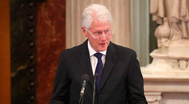 Hilary Clinton said her husband's speech at Martin McGuinness' funeral moved her to tears