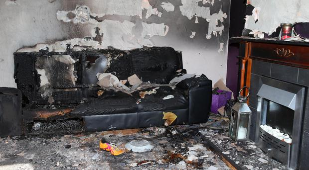 The scene of the petrol bomb attack at a house in Craigavon