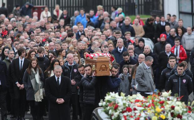 A huge crowd gathered in Londonderry to show their respect for the late Derry Skipper Ryan McBride