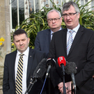 UUP's Robin Swann, Steve Aiken and Tom Elliott at Stormont yesterday