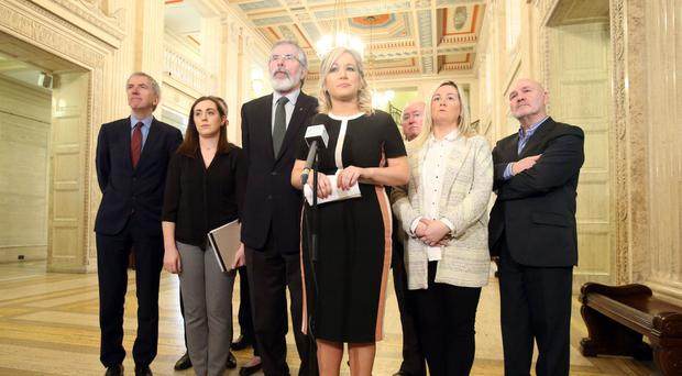 Sinn Fein's Gerry Adams and Michelle O'Neill in the Great Hall, Stormont speaking to the media after talks to restore a powersharing government collapsed