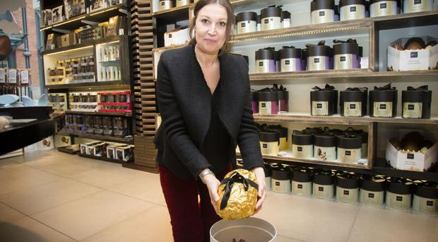 Belfast Telegraph's Claire McNeilly with the Classic Ostrich Egg in Hotel Chocolat