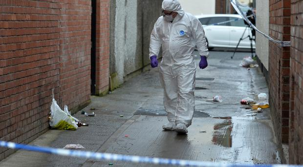 Forensics officers at the scene where a teenage boy was found with serious injuries in east Belfast