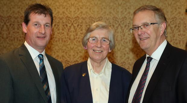 Anne Morrison with Wesley Aston (left) and Ivor Ferguson of the UFU