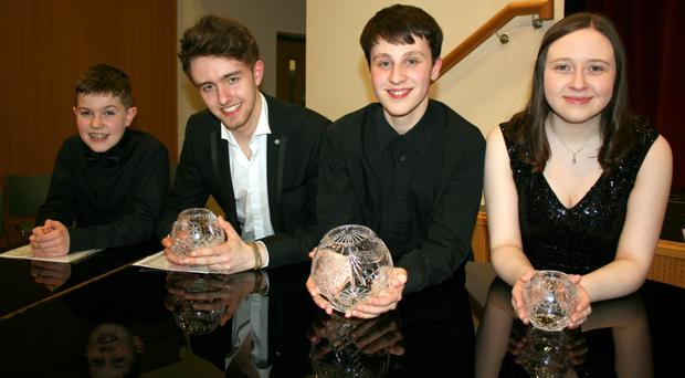 Finalists in the NI Young Musician of the Year 2017, Christopher McDonald, Gary Hunt, winner Samuel Kane and Rebecca Doherty