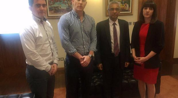 Mark Harte, John McAreavey and Claire McAreavey with the PM of Mauritius Pravind Jugnauth