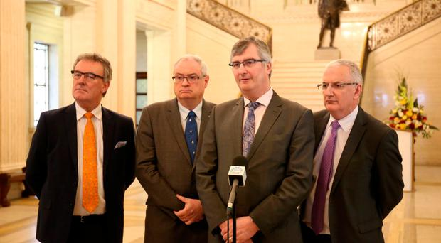 The UUP's Mike Nesbitt, Steve Aiken, Tom Elliott and Danny Kennedy