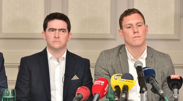 John McAreavey, right, and Mark Harte, brother of murdered honeymooner Michaela McAreavey, during a press conference at the Labourdonnais Hotel in Port Louis, Mauritius