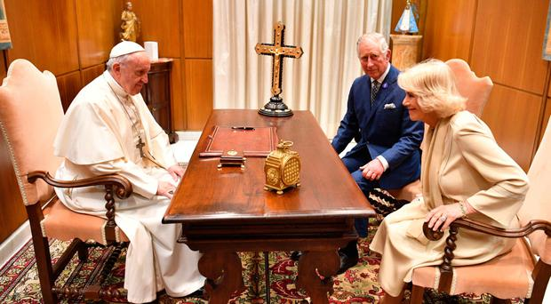 The Prince of Wales and the Duchess of Cornwall during their audience with Pope Francis at the Vatican