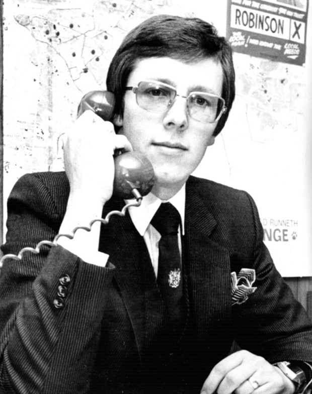 Peter Robinson in his office back in 1980