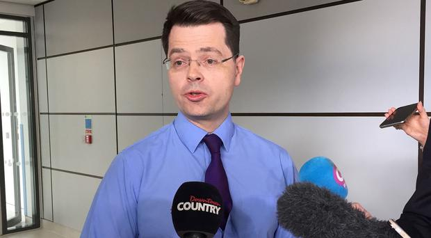 Northern Ireland Secretary James Brokenshire speaks to members of the media during a visit to Antrim Area Hospital