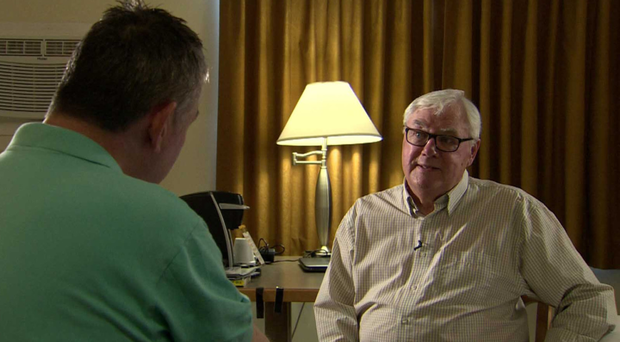 Clarke is interviewed by BBC NI's Kevin Magee in Canada