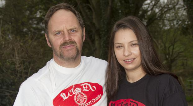 Rob Maxwell with girlfriend Roxy Petre. He is taking amputee veterans to Isle Of Man TT
