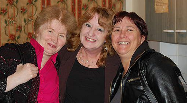 Pamela Hein (centre) with Keith Baker's wife Caroline (left) and Mandy Highfield during her stay at the house.