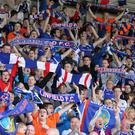 Linfield supporters on the Kop
