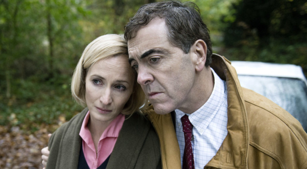 James Nesbitt as killer dentist Colin Howell and Genevieve O'Reilly as Hazel Buchanan, in ITV drama The Secret