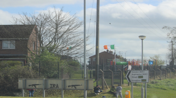 IRA graffiti on back of road signs in Dungannon