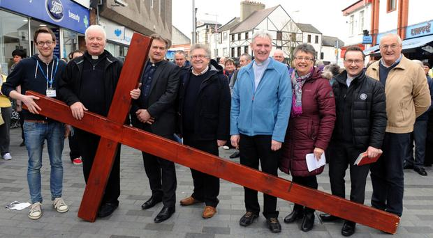 Clergy from various churches in Lisburn at last year's Good Friday event