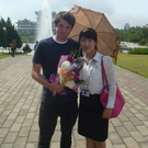 Chris Kelly and fellow guide in Pyongyang