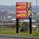 A Sinn Fein political banner in west Belfast yesterday