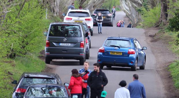 Vehicles at the landmark spot near Armoy in Co Antrim