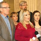 Sinn Fein's Stormont leader Michelle O'Neill and party colleagues Gerry Kelly, John O'Dowd, Martina Anderson and Megan Fearon, speak to the media yesterday