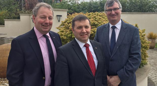(L to R) Danny Kinahan, Robin Swann and Tom Elliott after UUP party executive meeting in east Belfast