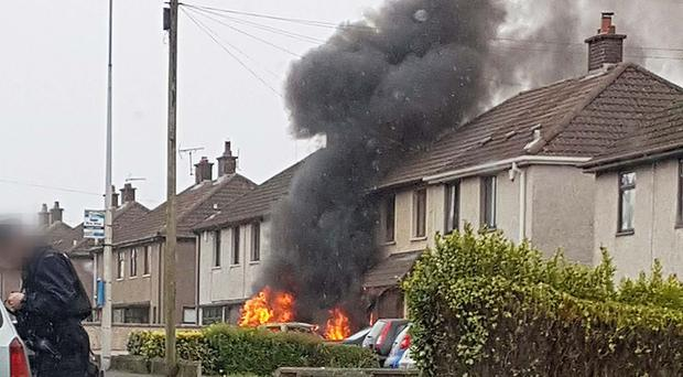 The scene of the blaze at Killyglen Road in Larne