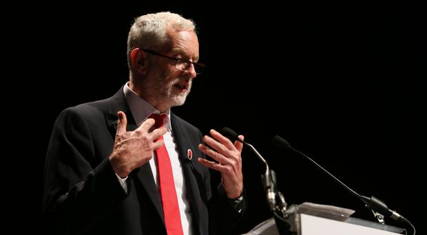 Labour leader Jeremy Corbyn addresses the STUC conference in Aviemore