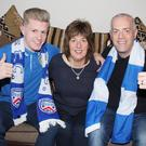 Coleraine defender Lyndon Kane, his aunt Gillian and his father Mark