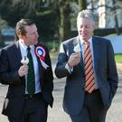 The then-Ulster Unionist leader Mike Nesbitt and then-DUP leader Peter Robinson with Nigel Lutton, who stood as a unionist 'unity' candidate in the Mid Ulster by-election in March 2013. He lost to Sinn Fein's Francie Molloy