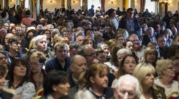 Over 800 members of the public attend a public meeting in the Canal Court Hotel in Newry about the closure of the 24-hour A&E department at Daisy Hill Hospital.