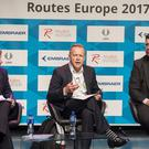 Prof Keith Mason, Centre for Air Transport Management at Cranfield University, left; Gordon Dewar, CEO of Edinburgh Airport and Bernard Lavelle, Sales Director at London City Airport, right, during the Routes Europe live conference event (Routes Europe/PA)