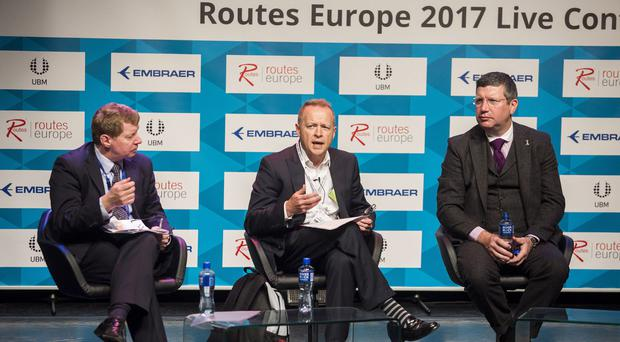 Prof Keith Mason, Centre for Air Transport Management at Cranfield University, left; Bernard Lavelle, Sales Director at London City Airport; and Gordon Dewar, CEO of Edinburgh Airport, right, during the Routes Europe live conference event (Routes Europe/PA)