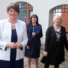 Arlene Foster at Our Lady's Grammar School with principal Fiona McAlinden (centre) and vice principal Teresa McAlister