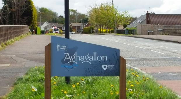 The new sign at Derrymacash that says Aghagallon.