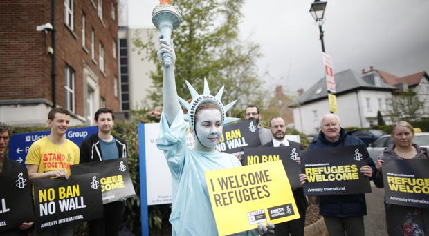100 liberty statues mark Trump human rights protest