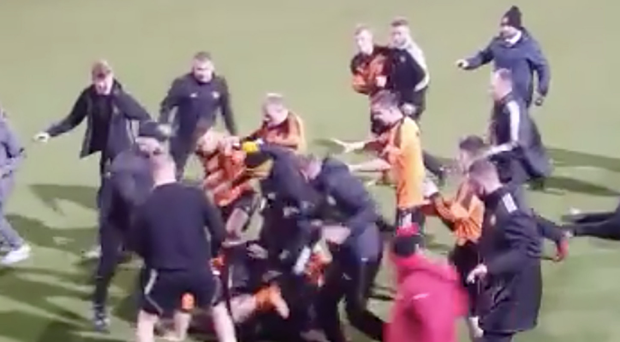 Ugly scenes: A series of skirmishes broke out in the aftermath of Suffolk being presented with the Co Antrim Junior Shield following their victory over Woodvale in Wednesday night's final at Seaview on north Belfast's Shore Road
