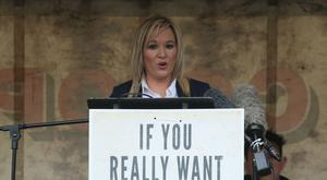 Sinn Fein leader for Northern Ireland Michelle O'Neill addresses a memorial event in Cappagh