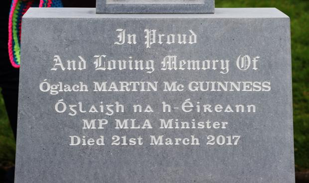 Martin McGuinness's headstone in Derry City Cemetery
