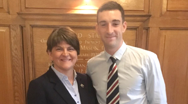Arlene Foster meets Rangers captain Lee Wallace at Ibrox